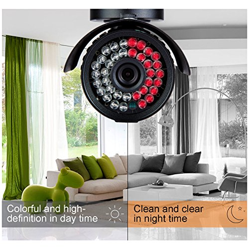 CANAVIS HD 1000TVL CCTV Camera 3.6mm Lens with IR Night Vision Outdoor/Indoor Waterproof Security Bullet Camera,Aluminum Metal Housing(Black) by CANAVIS (Image #4)