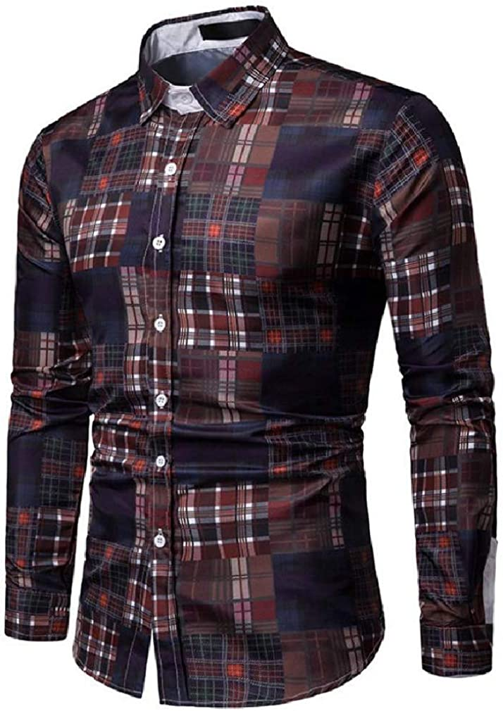 Cromoncent Mens Long Sleeve Casual Plaid Tops Button Down Shirts