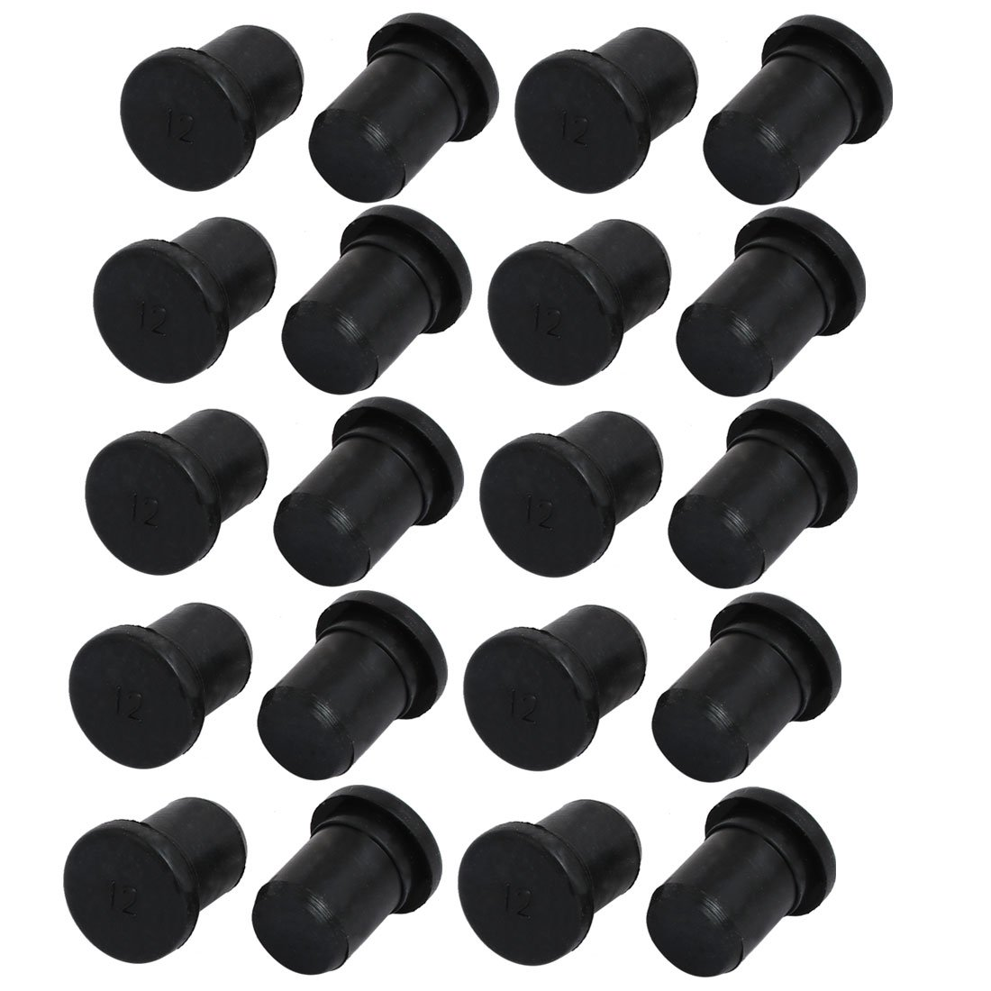uxcell 20pcs 12mm Dia EPDM Rubber Seal Hole Insert Stopper Black for Cable Gland