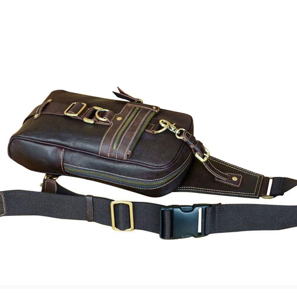 Sumferkyh Sling väska äkta läder män och kvinnor bröstväska midjeväska crossbody väska reseryggsäck för män kvinnor utomhus cykling vandring resor (färg: Brun) Kaffe