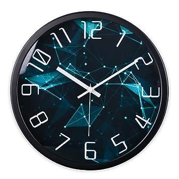 Waduo Reloj de Pared Moderno silencioso Redondo Marco de Metal Esfera de Cristal Fácil de Instalar Reloj (Color : Black, Tamaño : 10 Inches): Amazon.es: ...