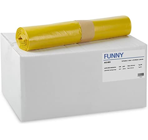Funny AG-883 - Pack de 250 bolsas de basura, 120 l, color amarillo ...