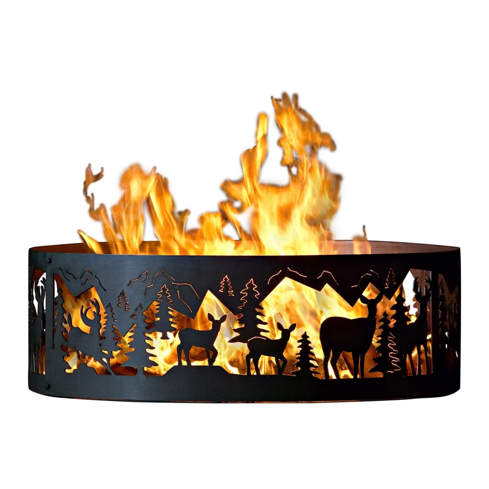 P&D Metal Works Outdoor Campfire Fire Ring w Whitetail Deer Design (48 in. Dia.) by P&D Metal Works