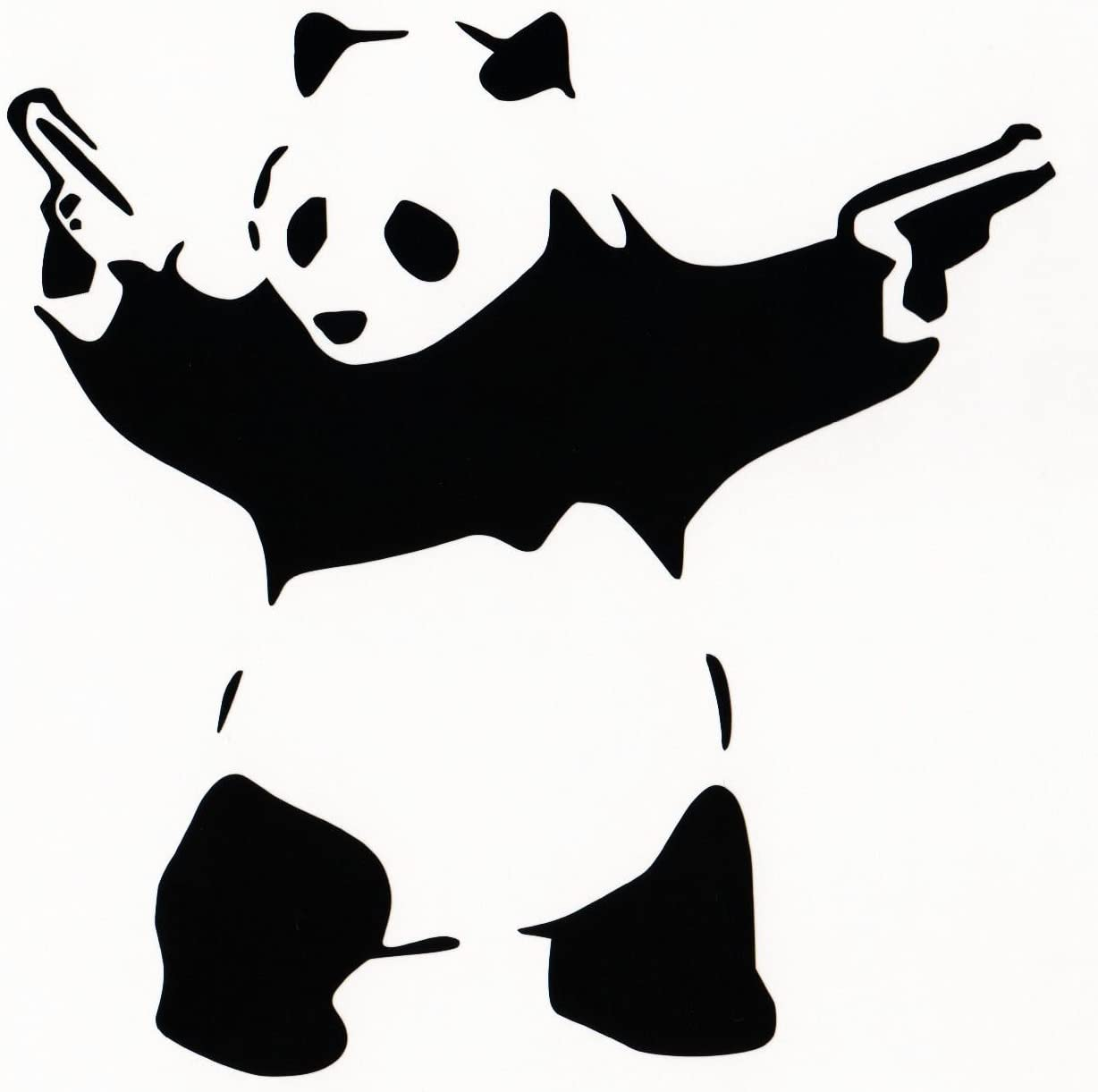 "Panda with Guns Sticker Decal Car Bumper Bansky Windows Art Vinyl Truck (5.5"" inches (White)"