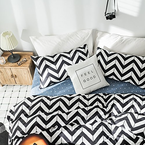 VKStar 3 Pieces Duvet Cover Set King Cotton For Men Women,King Duvet Cover+2 Bed Pillowcases by, Black and White Chevron Stripe Print,Super Soft,Hotel Quality,NO - Chevron Cotton Stripe