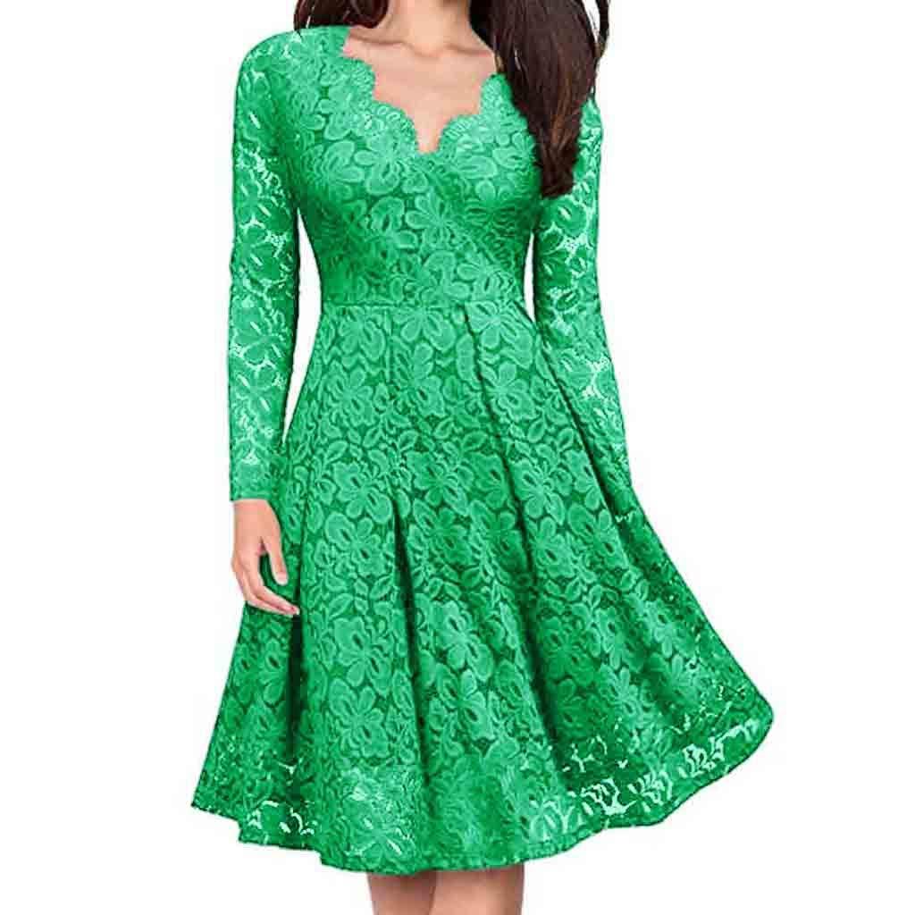 Simayixx Women's Vintage Patchwork Pockets Puffy Swing Lace Party Dress Mini Short Dresses Elegant Cocktail Tops Blouses Green