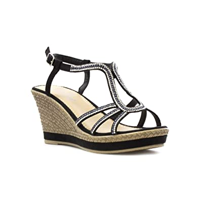 4b3a25b252 Lilley Black Diamante Wedge Sandal in Black: Amazon.co.uk: Shoes & Bags