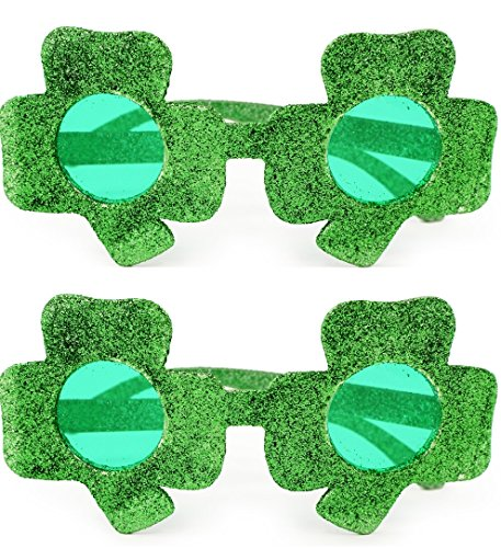 2 pair - Glitter Shamrock Sunglasses - St Patrick's Day Glasses
