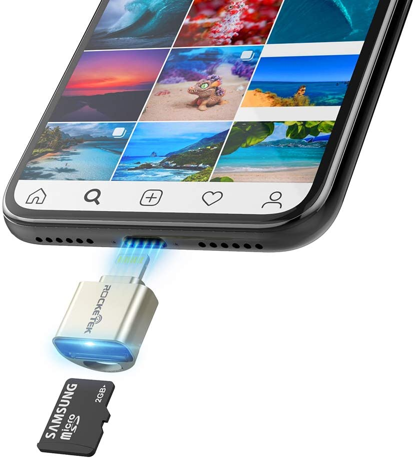 TF Card Reader for iPhone iPad, Rocketek Micro SD Card Adapter Aluminum Lightning MS Memory Card Camera Reader Compatible with iPhone X/8 Plus/8/7 Plus/7/6s Plus/6s/, iPad Mini/Air, No App Required