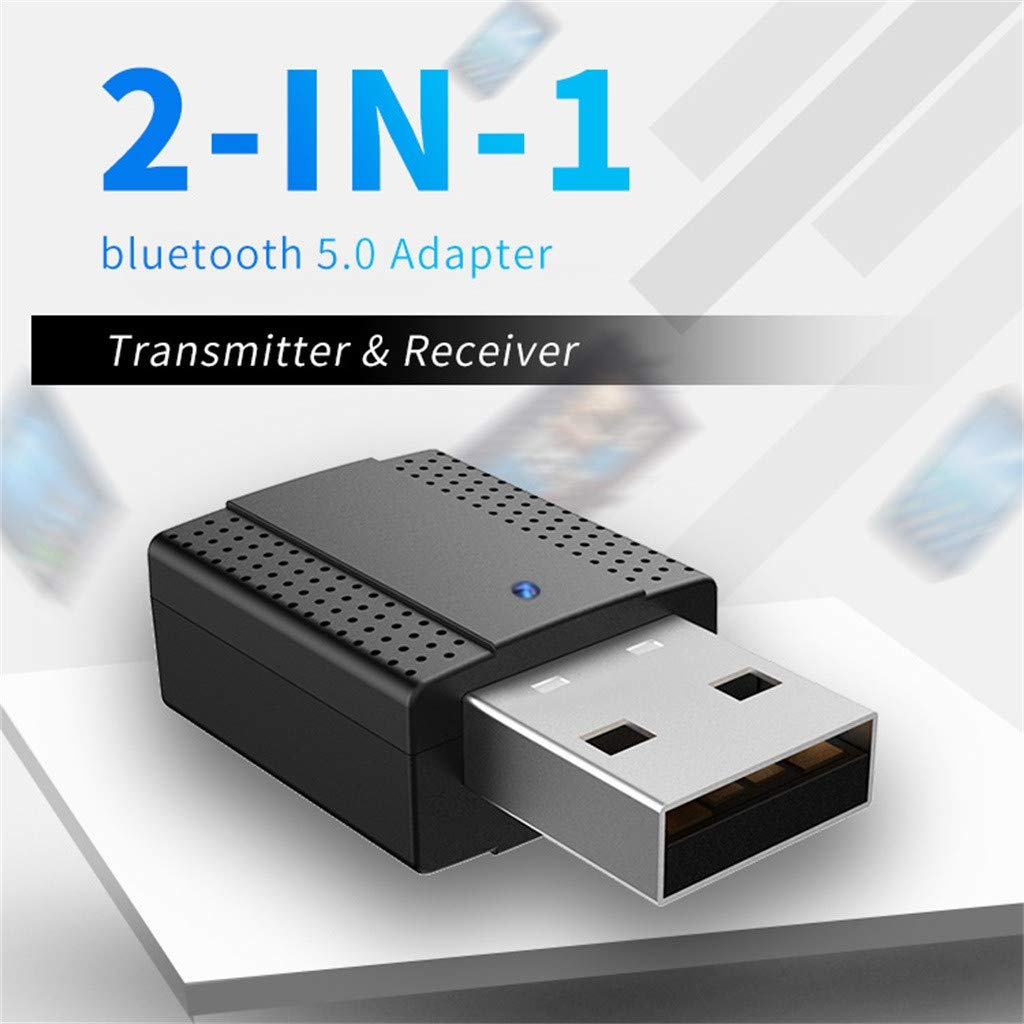 Receptor de transmisor est/éreo de Audio Bluetooth inal/ámbrico 2 en 1 Receptor AUX y USB de 3,5 mm para PC Auriculares de TV Est/éreo para el hogar del autom/óvil Koojawind Adaptador Bluetooth