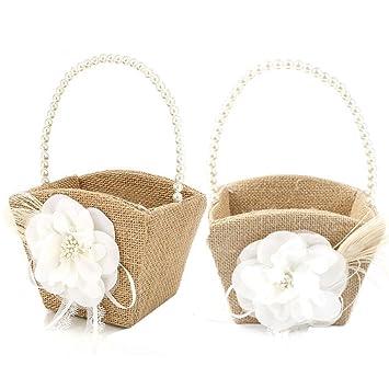 Amazon.com: awtlife 2 piezas Burlap cesta de la muchacha de ...