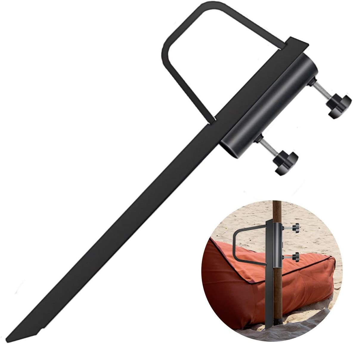 Beach Umbrella Sand Anchor, Outdoor Umbrella Base Stand Heavy Duty Metal for Sand/Grass Pole Holder Anchor Stake Black