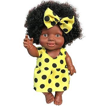 AmaMary Muñeca Negra Africana, Peluca Afro Negra con Pinza para el Cabello Mariposa 10 Pulgadas