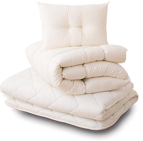 best loved 14d04 17ed8 EMOOR Original -CLASSE Series- Futon Set (Comforter, Futon Mattress,  Pillows) Made in Japan, Queen