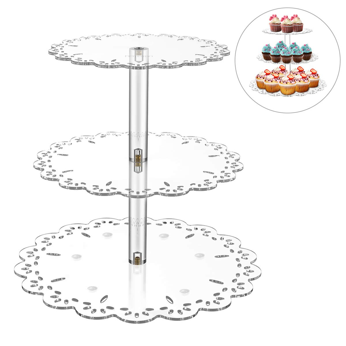 Hemoton 3 Tiers Elegant Cupcake Stand Durable Non Slip Acrylic Pastry Dessert Stand for Baby Shower Wedding Birthday Party