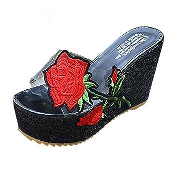 Zapatillas de tacón alto para mujer con zapatos de cuña gruesos, zapatillas de plataforma abiertas para dedos: Amazon.es: Hogar
