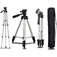Rotto Portable and Foldable Aluminium Alloy Tripod Stand for Mobile Phones & Camera with Adjustable Holder Bracket, Flexible Mount with 3 Dimensional Head, 360 mm -1050 mm (M/s Big boy Things)