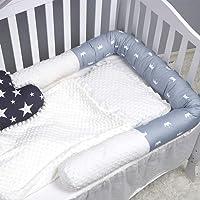 Peggy's Cove Baby Crib Bumper Nursery Cradle Decor Newborn Cushion Junior Bed Sleep Bumper (2 Meters, White-Gray-Crown)