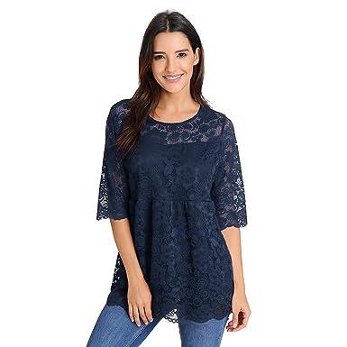 Camiseta de Mujer Primavera EUZeo, Encaje Transparente Blusa Casual Tops Verano Color Sólido O-Neck Shirts Elegantes Manga Corta Sudadera Moda Fiesta ...