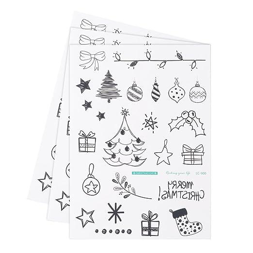 LUOEM Impermeables Desechables de Navidad Pegatinas temporales de ...