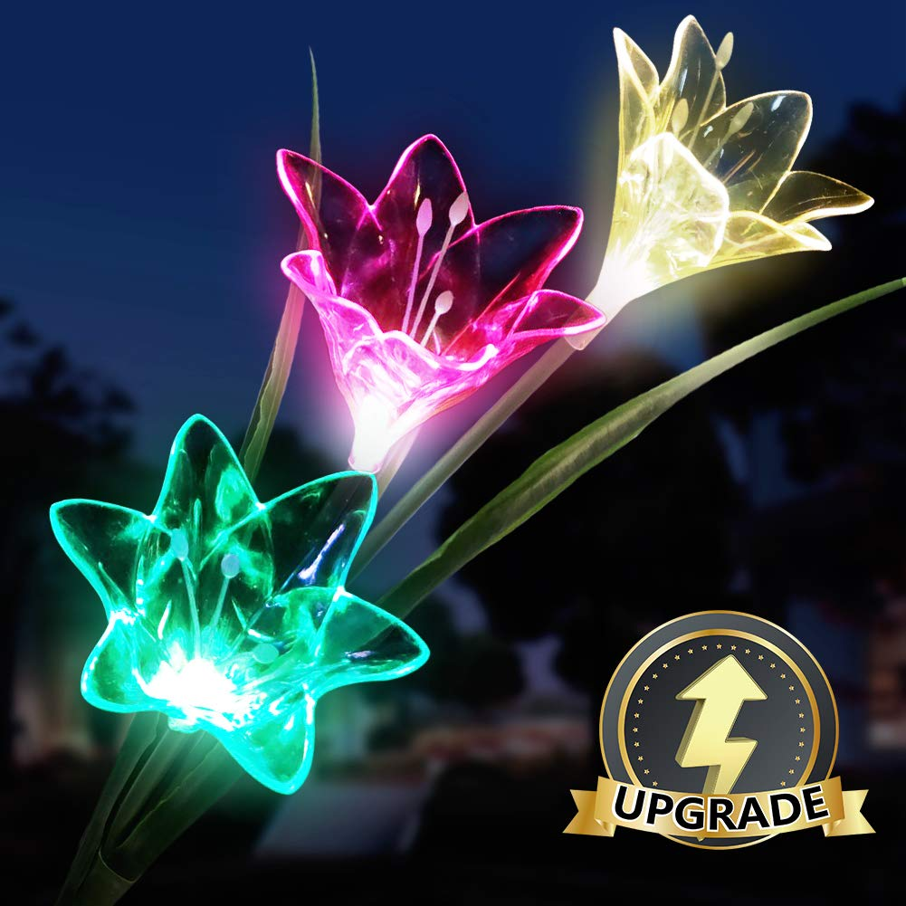 Solar Flower Lights Outdoor, Solar Lily Light LED Multi-Color Landscape Lights Dusk to Dawn Auto On/Off for Courtyard Backyard Decorative Lights 1 Pack
