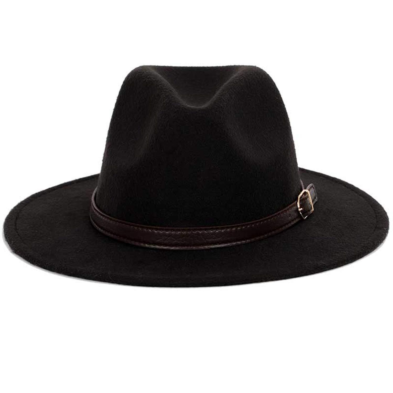 Bowler hat Man Mens Fashion Shallow Fedora Hats Classic Unisex Solid Color Belt Gold Buckle Large Size caps