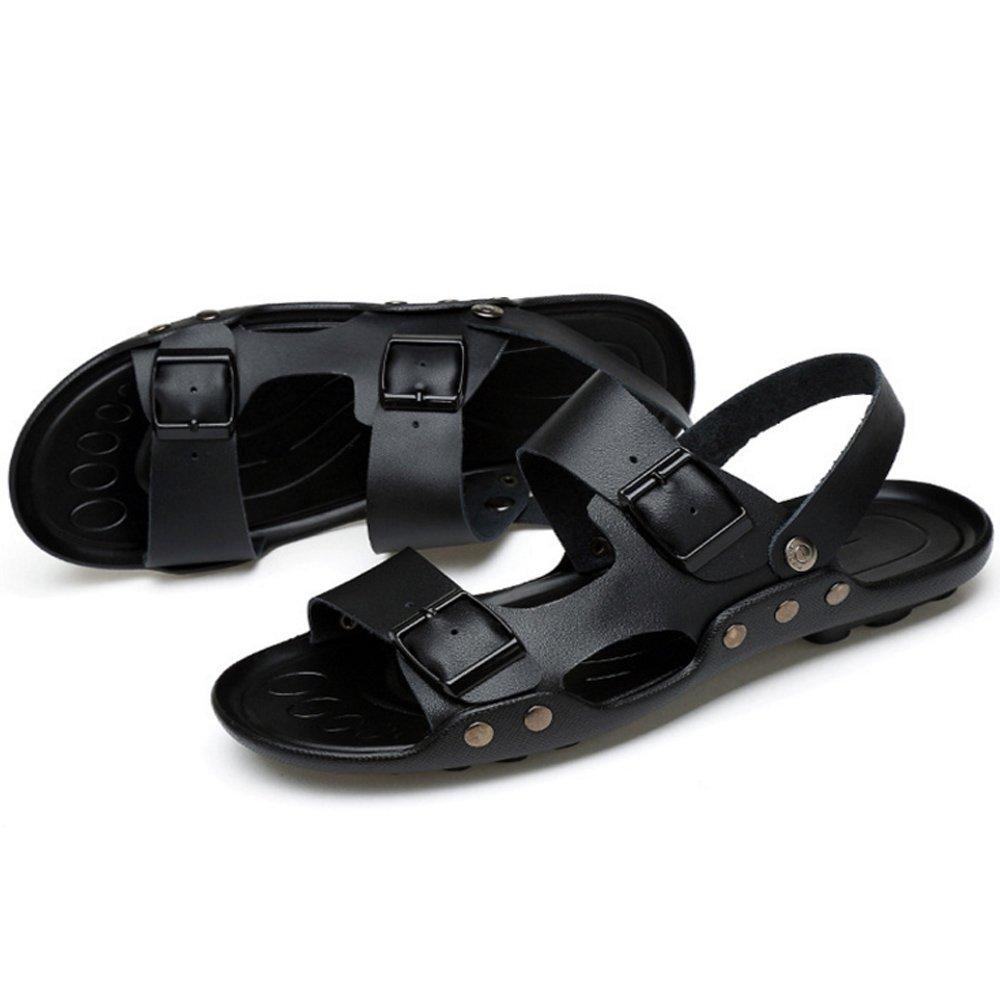 Xiaoqin Herren Offene Spitze Casual Leder Breathable Sandale Rutschfeste Einstellbare : Sommer Strand Sandalen (Farbe : Einstellbare schwarz, Größe : 40 2/3 EU) schwarz 6197c6
