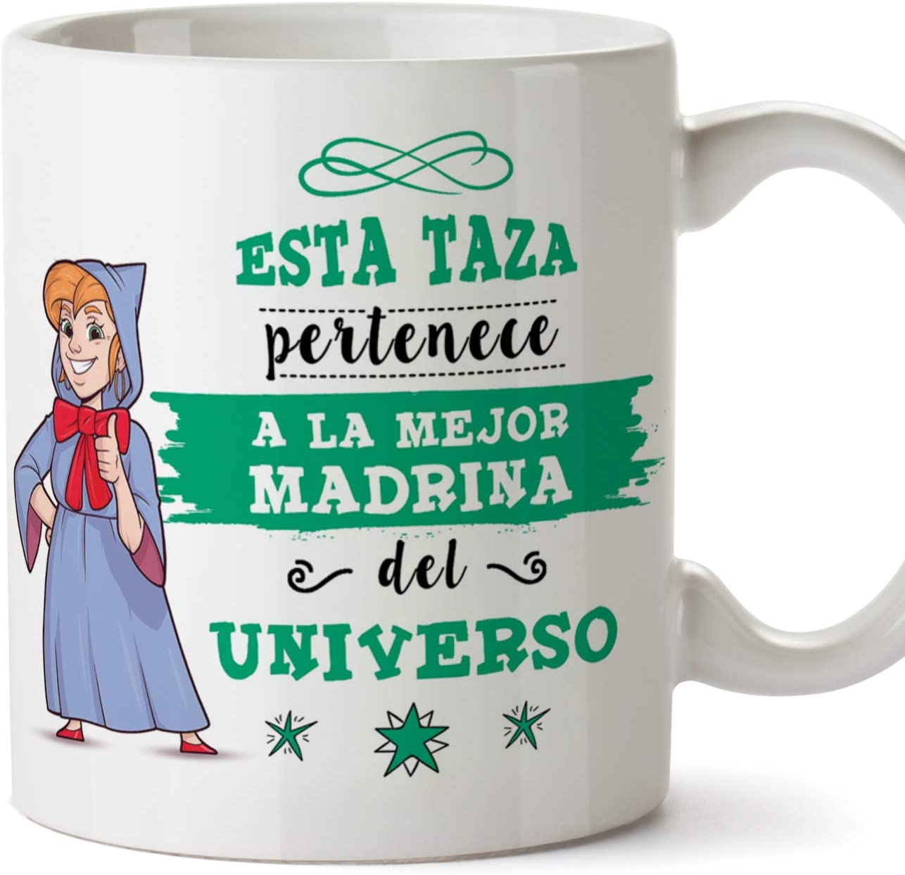 MUGFFINS Taza Madrina - Esta Taza Pertenece a la Mejor Madrina del Universo - Taza Desayuno/Idea Regalo Día de Pascua. Cerámica 350 mL