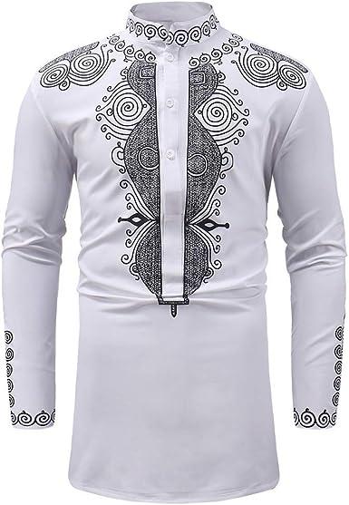 Hommes africains à manches longues T-shirt Muscle Top plaine col rond Chemises