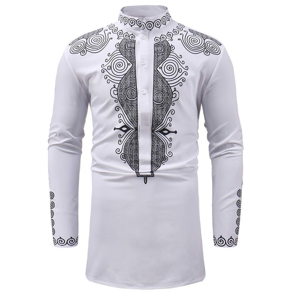 Mysky Men Vintage African Royal Print Luxury T-Shirt Blouse Male Classic Brief Stand Collar Dashiki Pullover