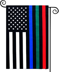 COCJCJ Thin red Blue and Green line Outdoor Double Stitch Double-Sided Garden Flag 12X18 Outdoor Lawn Decoration, Support American Police Firefighters