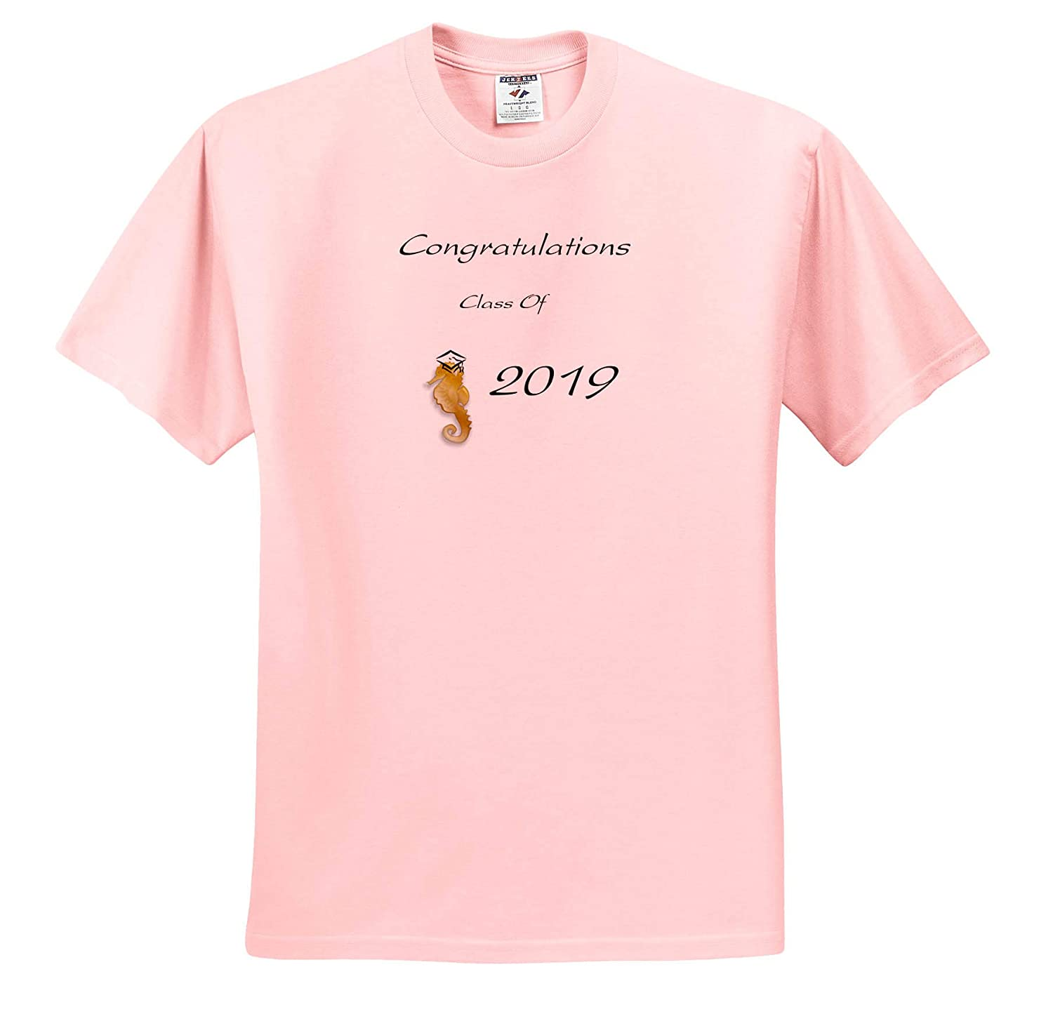 T-Shirts Graduation 3dRose Lens Art by Florene Image of Cute Simple Congratulations with Seahorse Wears Cap