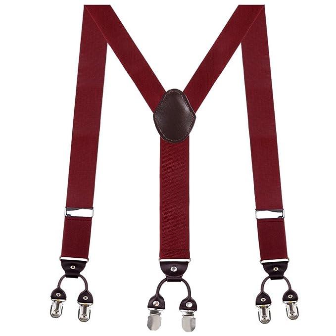 innocheer herren hosentrager 6er clips y form elastisch und langenverstellbar rot hosentrager