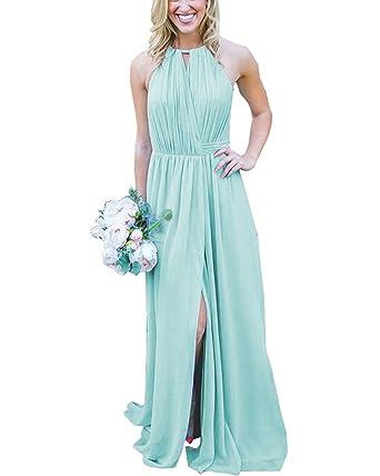 7f3d3da2d05 JQLD Women s Long Ruched Chiffon Bridesmaid Dresses 2018 Sexy Halter  Sleeveless Prom Gown Aqua US2