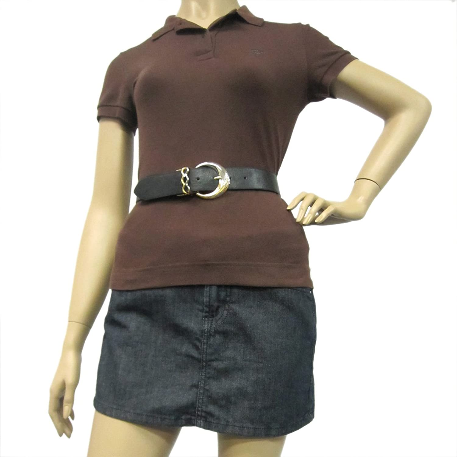 """1 1/4"""" Women's Fashion Two-Tone Crescent Buckle on Quality Leatherette Belt Strap"""