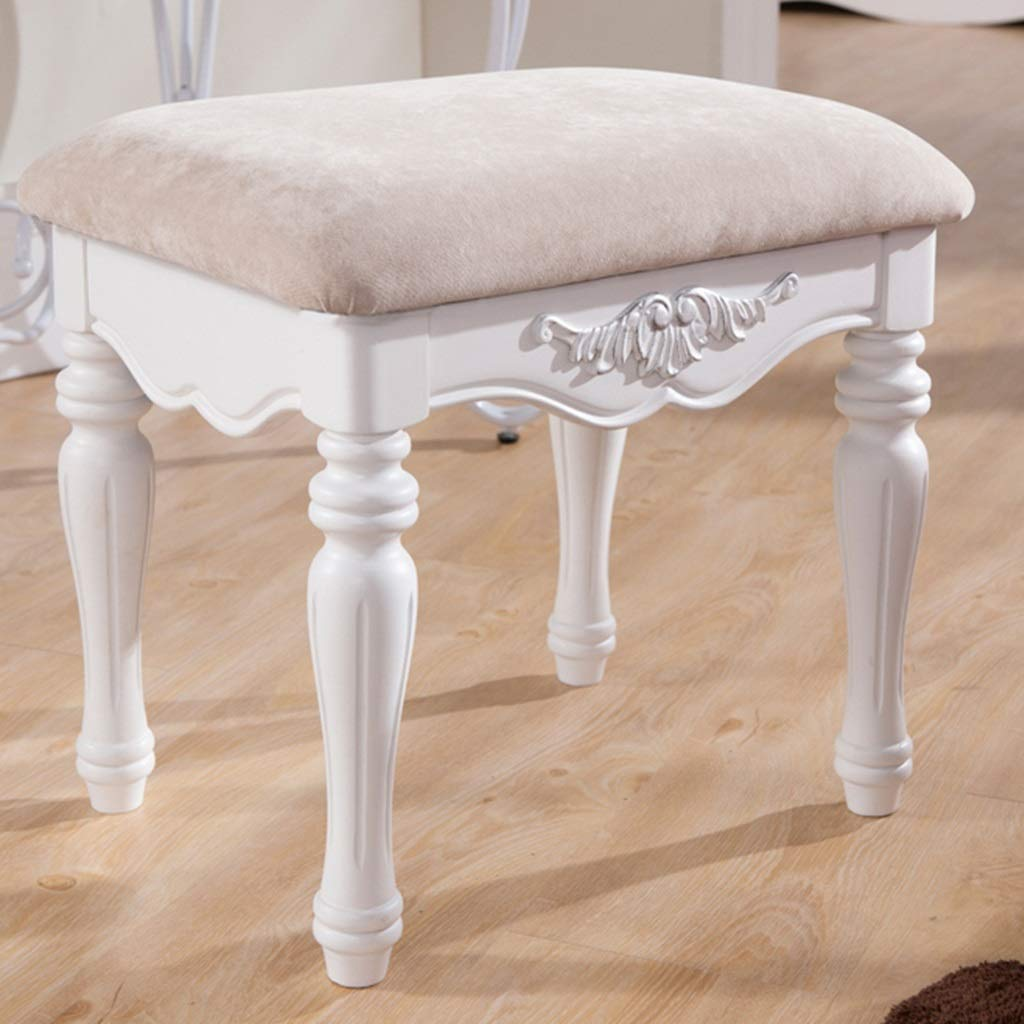 Makeup Chair Dressing Stool White Solid Wood Makeup Stool Bedroom Vanity Stool|Makeup Chair Household Wood Stool Change Shoe Bench Vanity Stool Color : White, Size : 50x38x45cm