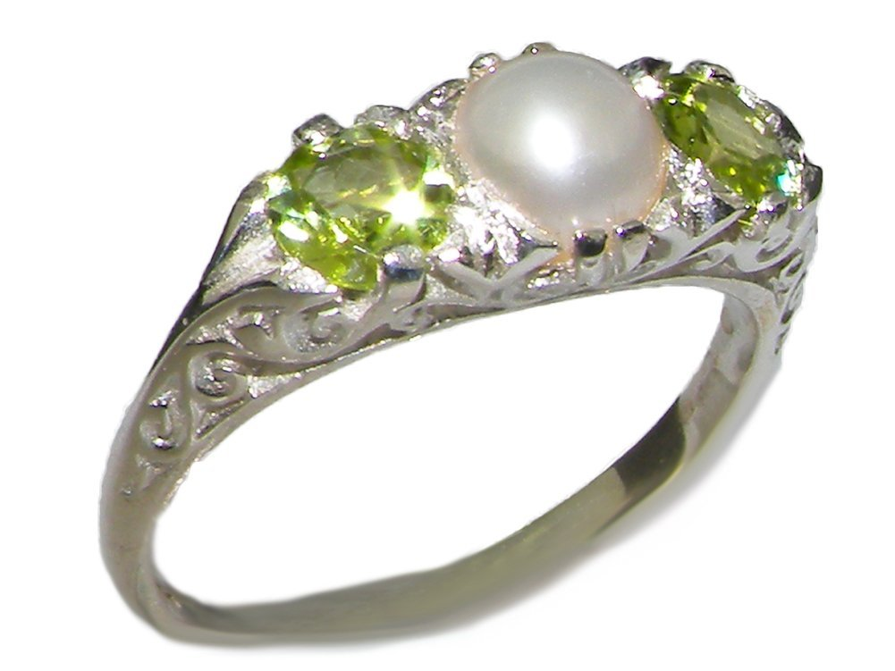 925 Sterling Silver Cultured Pearl and Peridot Womens Promise Ring - Size 6.5