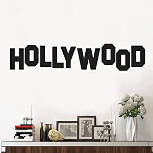 "Vinyl Wall Art Decal - Hollywood Sign - 6"" x 30"" - Trendy Inspirational Optimistic Good Vibes Travel Quote Home Bedroom Playroom Living Room Office Coffee Shop Travelers Decor"