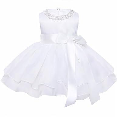 Tiaobug Baby M/ädchen Kleid Taufkleid festlich Hochzeit Kommunionkleider Elfenbein Blumenm/ädchenkleid f/ür 68 74 80 86 92 98