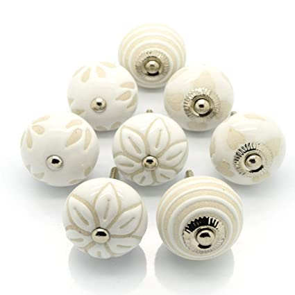 Maniglia pomello di ceramica per cassetti ante armadio mobili crema bianco  beige shabby chic con cuori fiori righe set da 8