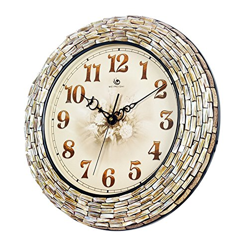 Jedfild Manual creative shell mosaic wall clock living room decorated in a Mediterranean style Clock