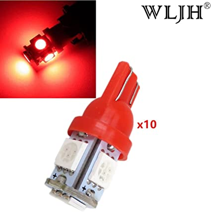 WLJH 10 x T10 cu/ña 5 SMD 5050 LED rojo Bombillas W5W 168 194 192 Auto LED Paso de pie Puerta C/úpula Mapa Licencia Placa de instrumento Panel Luces L/ámpara