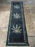 Marijuana Long Runner Rug Black &Green Design 139 (32in. X10ft)