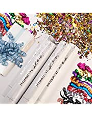 PRIMEPURE Premium Party Confetti Cannon - Set of 4 - (Includes 1 Streamer Cannons and 3 Confetti Poppers) For Birthday, Graduation, New Years Eve, and any other Party or Celebration