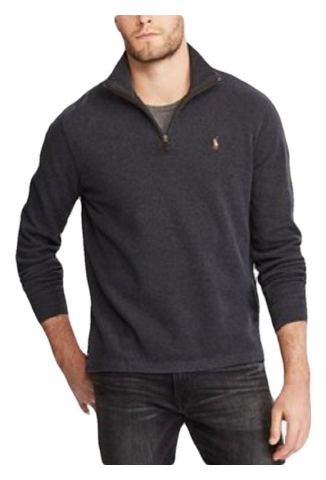 RALPH LAUREN Polo Men's Estate-Rib Cotton Mock Neck Half Zip Pullover Sweater (Dark Granite, XX-Large)