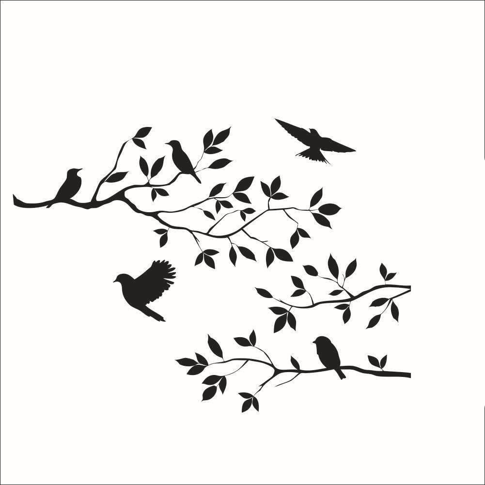 Stonges Ramas de los árboles Aves Etiqueta de La Pared Dormitorio de Vinilo Removible Sala de estar Art Mural Negro Tatuajes de Pared decoración