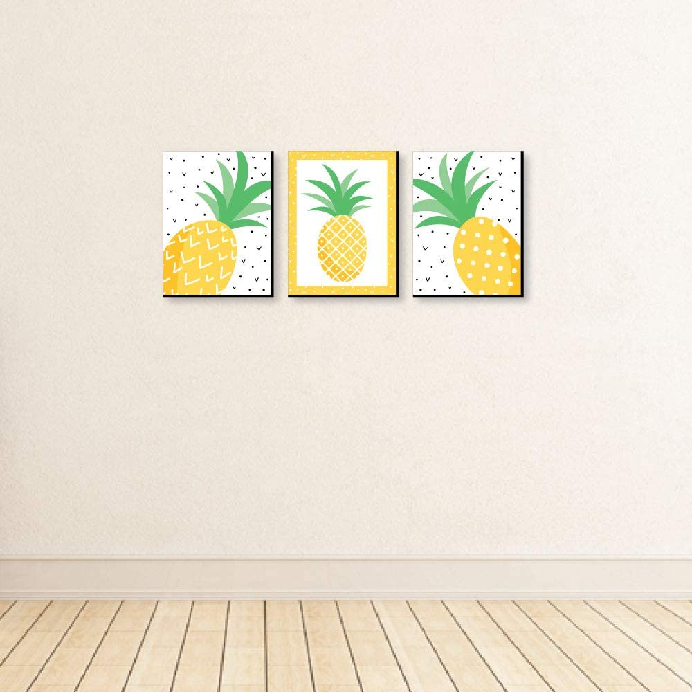 Big Dot of Happiness Tropical Pineapple Kids Room Decor and Summer Home Decorations Ideas 7.5 x 10 inches Nursery Wall Art Set of 3 Prints