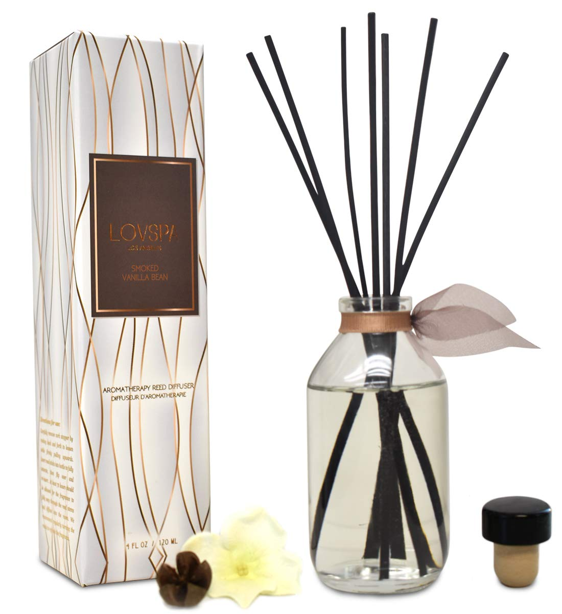 LOVSPA Smoked Vanilla Bean Reed Diffuser Set - Scented Stick Room Freshener Warm, Sultry Blend of Smoked Tahitian Vanilla, Sandalwood, Leather and Southern Bourbon - Great Gift Idea by LOVSPA