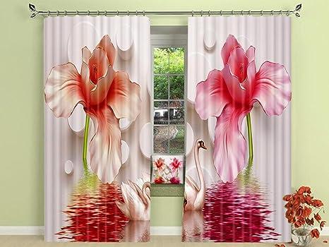 Tende A Fiori Per Camera Da Letto : D giallo fiori rosa tende decorazione tende europee per soggiorno