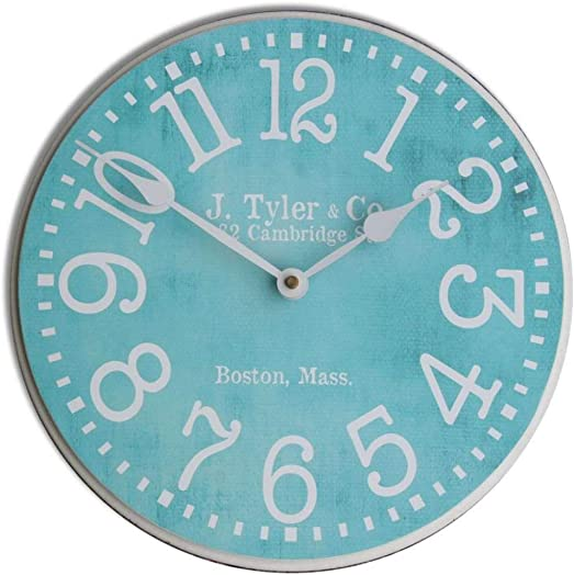 Turquoise Wall Clock, Available in 8 Sizes, Most Sizes Ship 2-3 Days, Whisper Quiet.